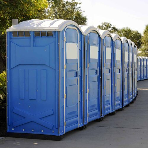 Portable toilets in a row